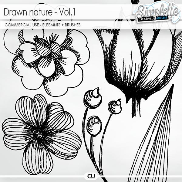 Drawn Nature (CU elements + brushes) - volume 1