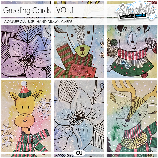 Greeting Cards (CU hand drawn cards) by Simplette - VOL1