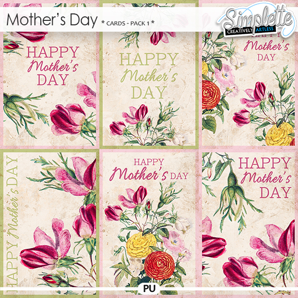 Mother's Day cards (pack 1) by Simplette