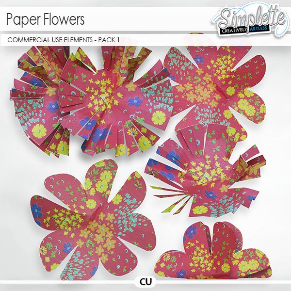 Paper Flowers (CU elements) pack 1