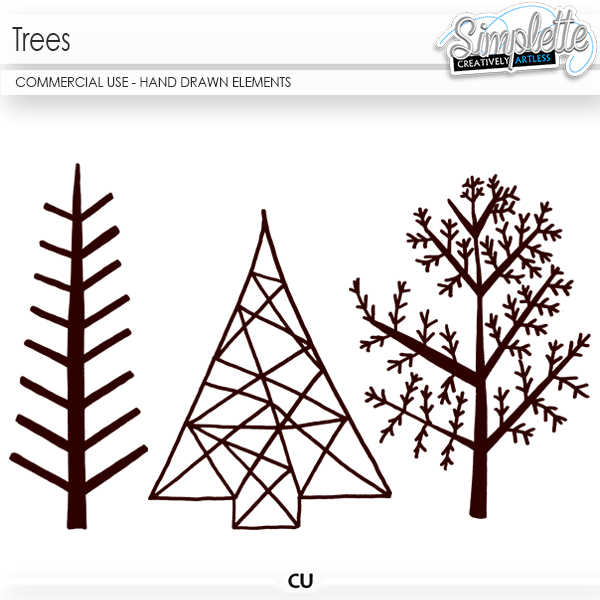 Trees (CU hand drawn elements) by Simplette