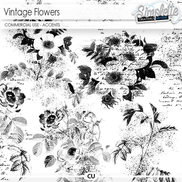 Vintage Flowers (CU accents) by Simplette | Oscraps