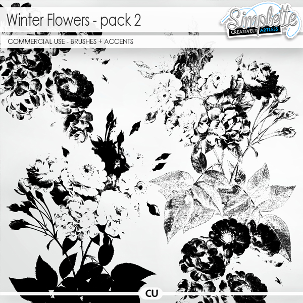 Winter Flowers (CU brushes + accents) pack 2