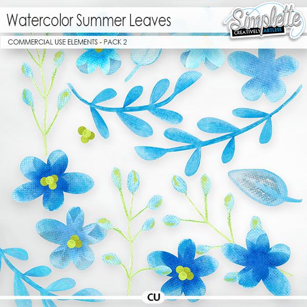 Watercolor Summer Leaves (CU elements) pack 2