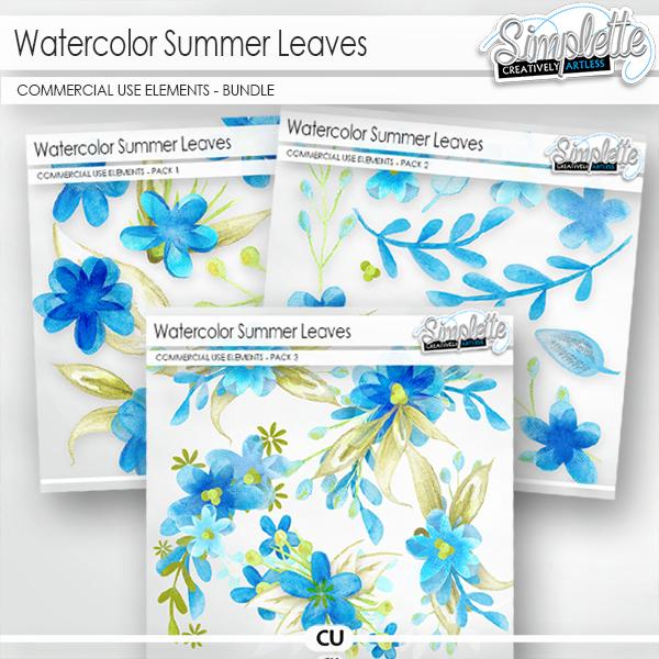 Watercolor Summer Leaves (CU elements) BUNDLE