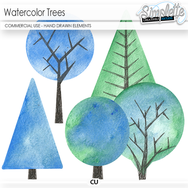Watercolor Trees (CU hand drawn elements) by Simplette