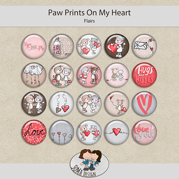 SoMa Design: Paw Prints On My Heart  - Flairs