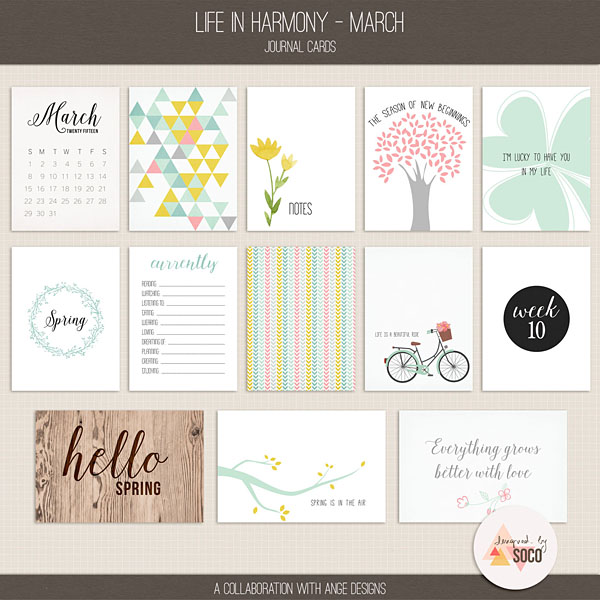 Life In Harmony - March {Journal Cards}
