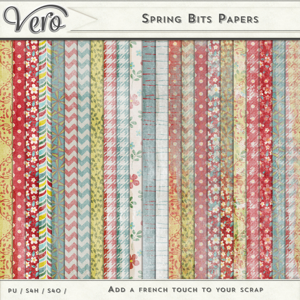 Spring Bits Patterned Papers by Vero