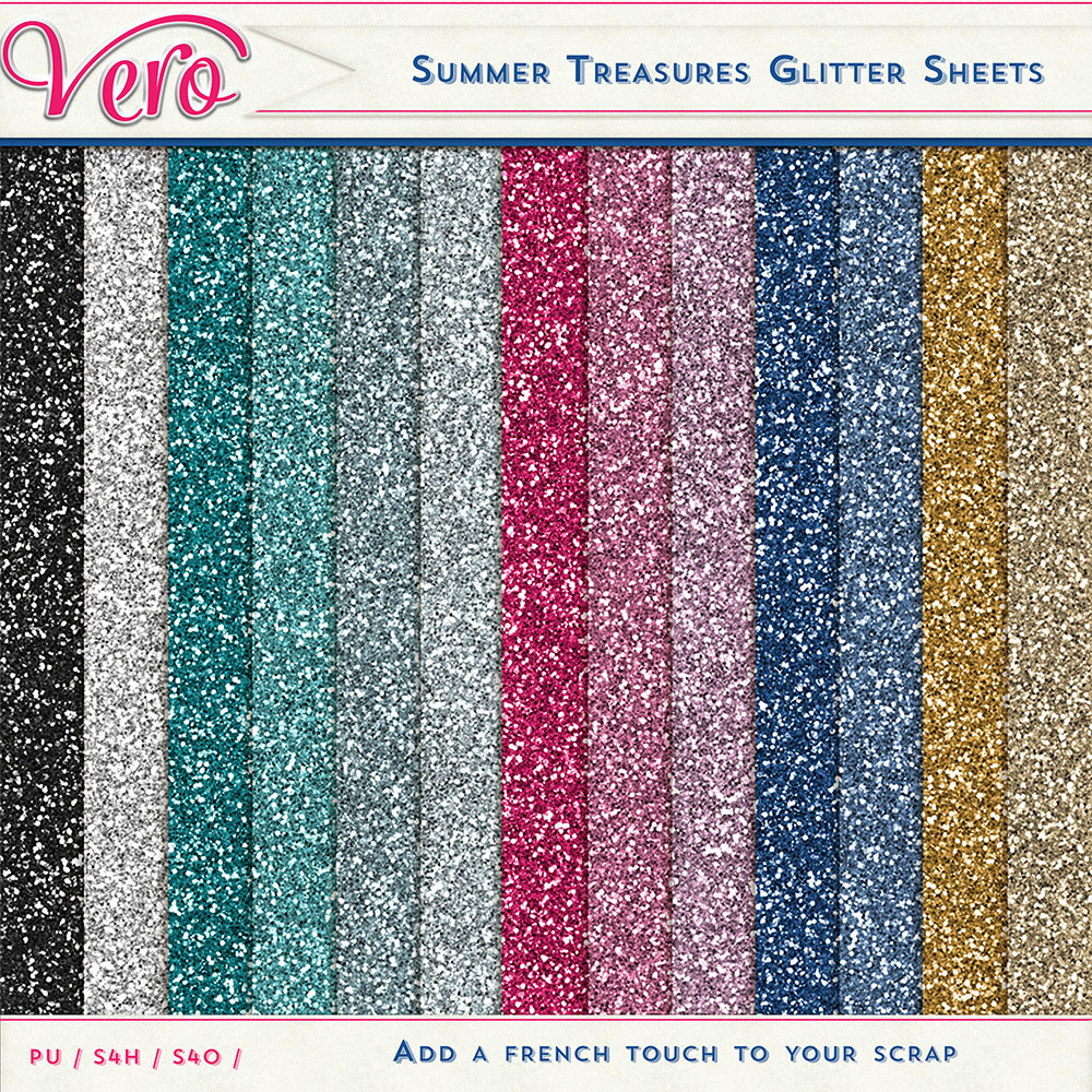 Summer Treasures Glitter Papers by Vero