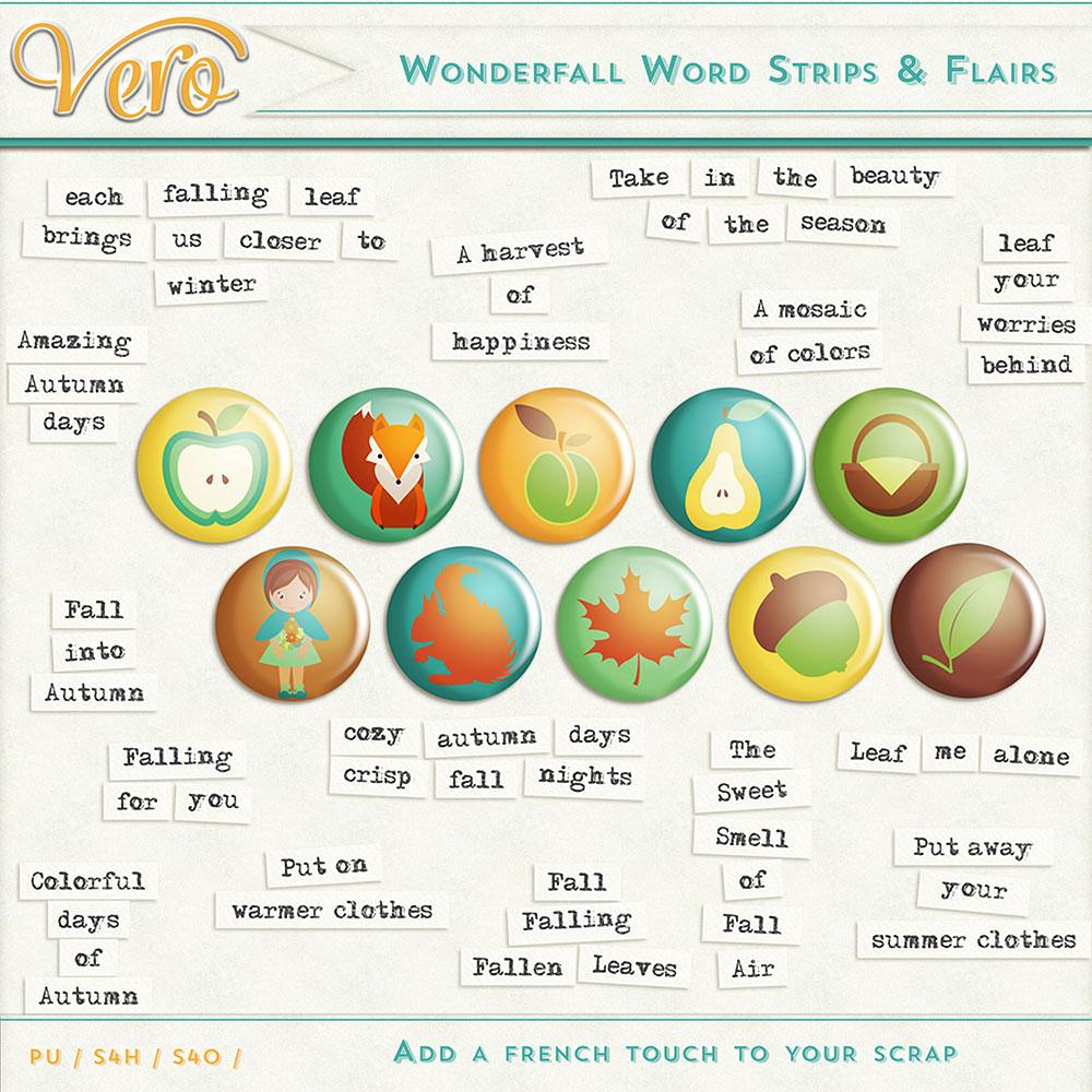 Wonderfall Word Strips & Flairs by Vero