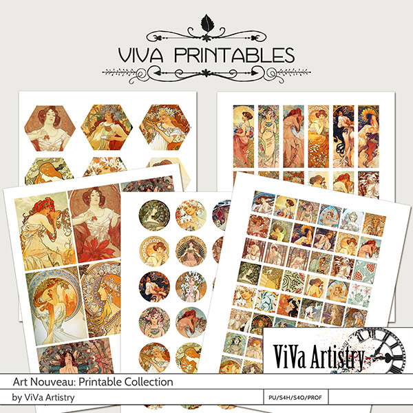Art Nouveau printable collection by ViVa Artistry