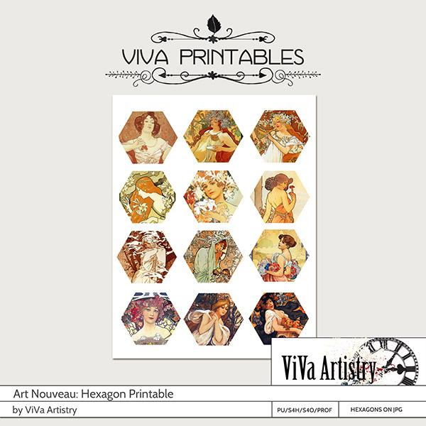 Art Nouveau Printables: Hexagons
