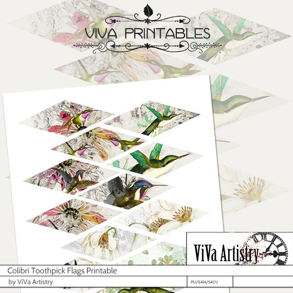 Colibri: Toothpick Flag Printables