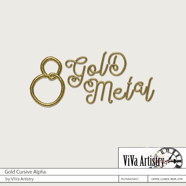 Gold Cursive Alpha