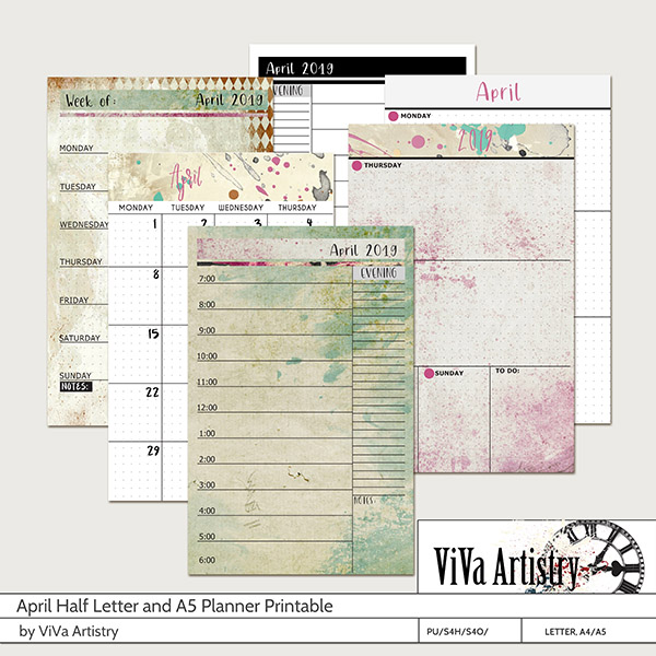 April 2019 Half Letter and A5 Planner Printable