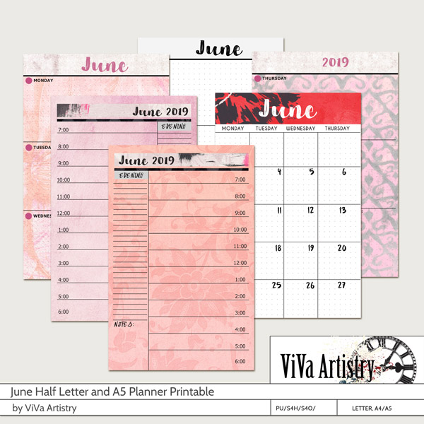 June 2019 Half Letter and A5 Planner Printable