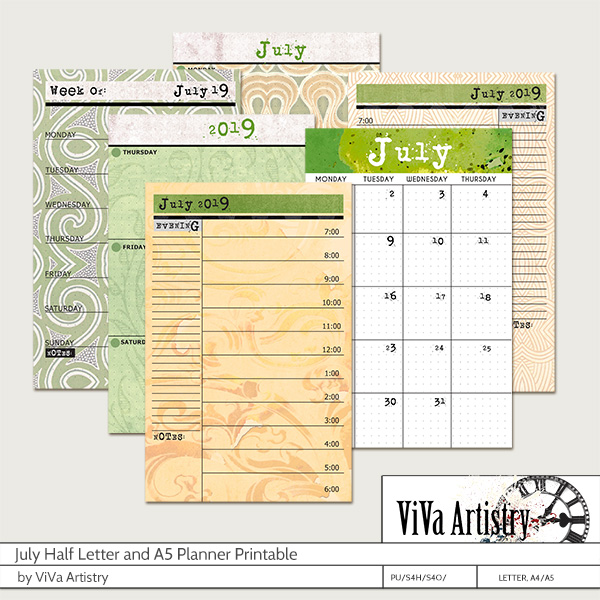 July 2019 Half Letter and A5 Planner Printable