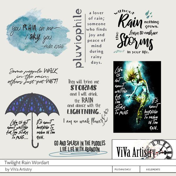 Twilight Rain Wordart