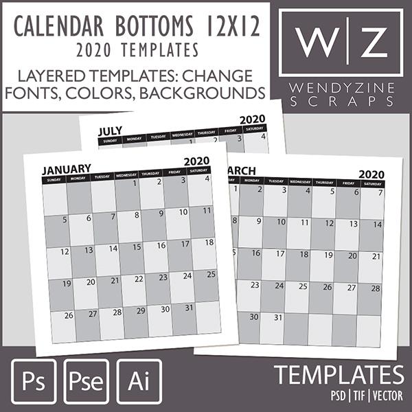 TEMPLATES: 2020 Calendar Bottoms 12x12