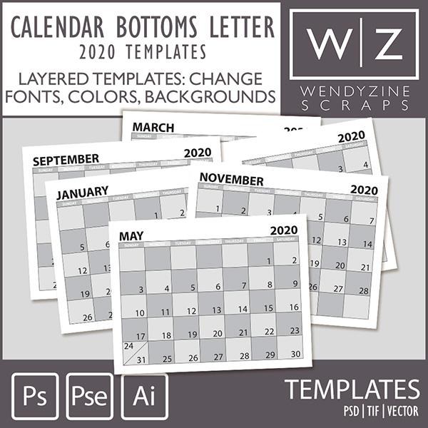 TEMPLATES: 2020 Calendar Bottoms Letter
