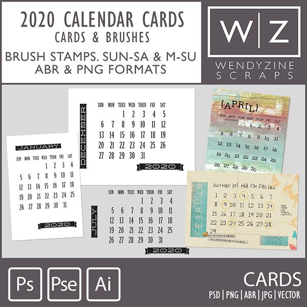 TEMPLATES: 2020 Calendar Cards