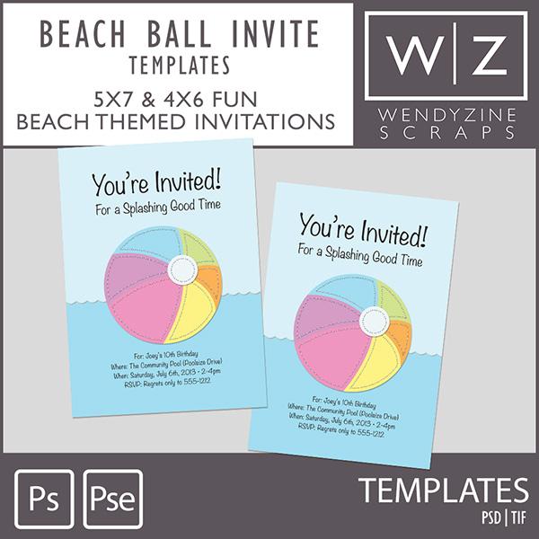 TEMPLATES: Beach Ball Invite