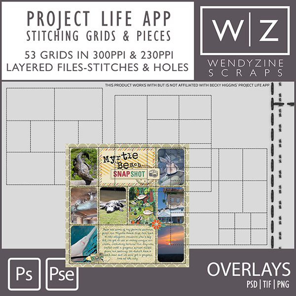TEMPLATES: Project Life App Stitching Grids & Pieces 2.0