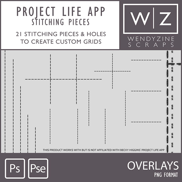 TEMPLATES: Project Life App Stitching Pieces Only