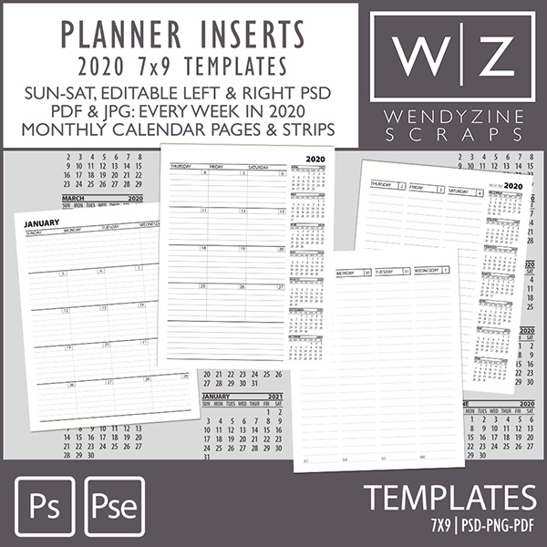 TEMPLATES: 2020 Planner Inserts 7x9