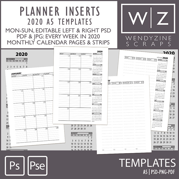 TEMPLATES: 2020 Planner Inserts A5