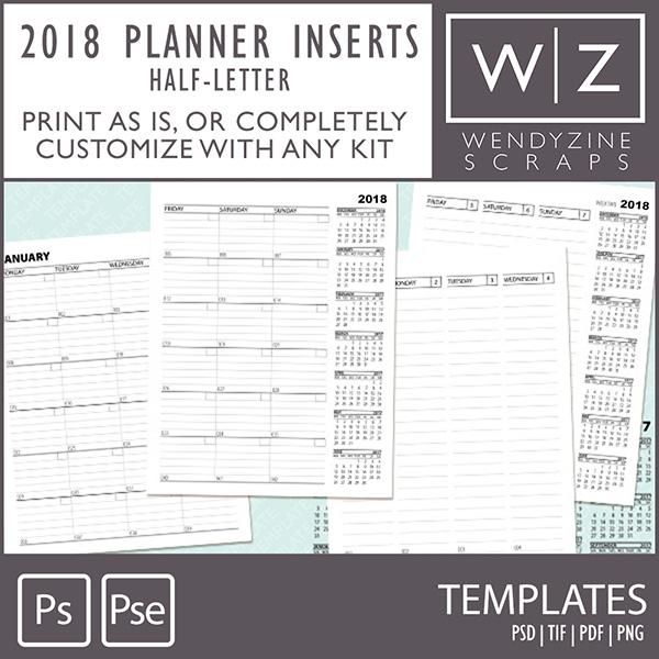 TEMPLATES: Planner Inserts Half Letter 2018