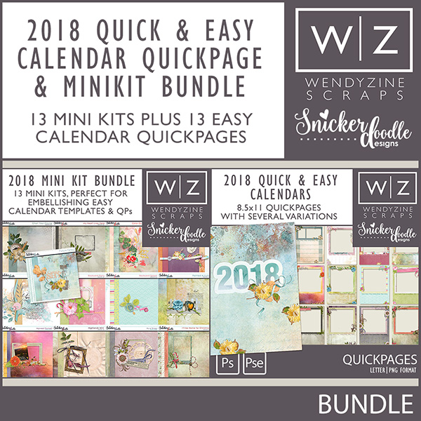 2018 Quick & Easy Calendars {Quickpages & Mini Kit Bundle}