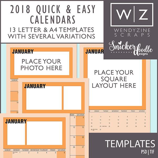 2018 Quick & Easy Calendars {Templates}