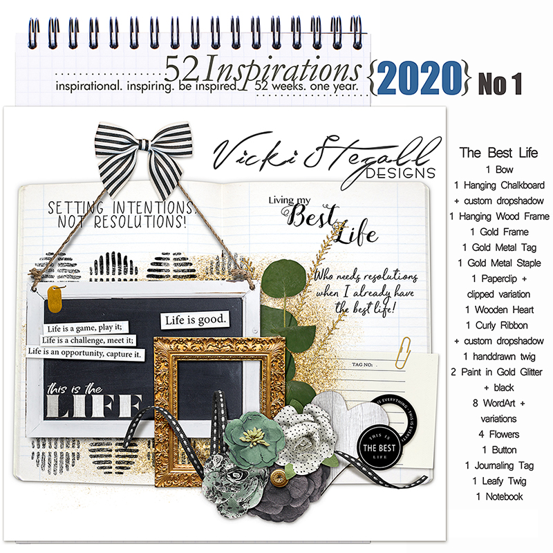 52 Inspirations 2020 -  No 1 The Best Life Elements by Vicki Stegall