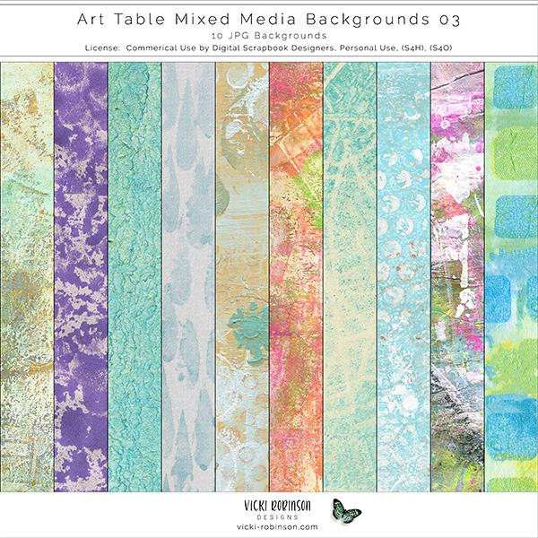 Art Table Mixed Media Bkgs 03 by Vicki Robinson