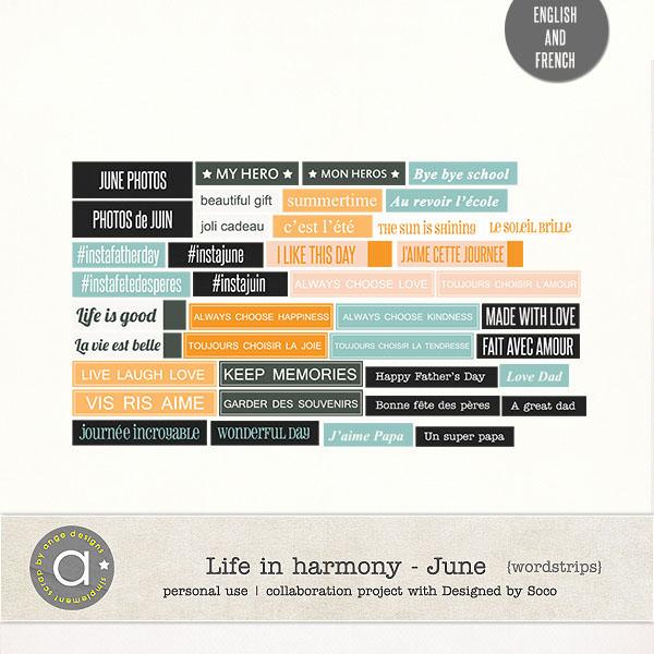 Life In Harmony - June {Wordstrips}