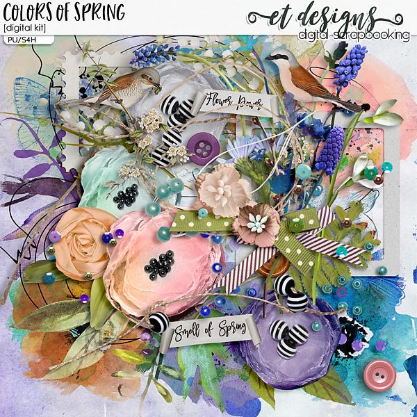 Colors of Spring kit & Alpha & Solids by et designs