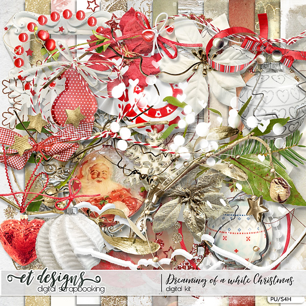 Dreaming of a white Christmas kit & Wordart pack by et designs