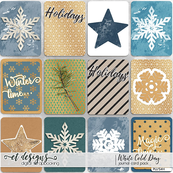 White Cold Day Journal Cards by et designs