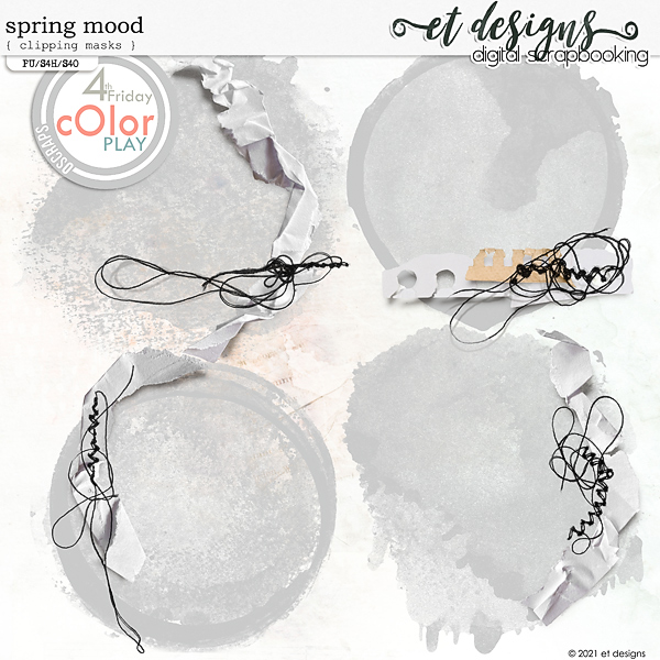 Spring Mood Clipping Masks & Stitched Torn Pieces of Papers