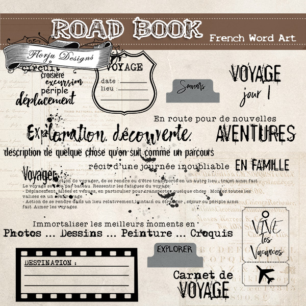 Road Book [ French Word Art PU ] by Florju Designs