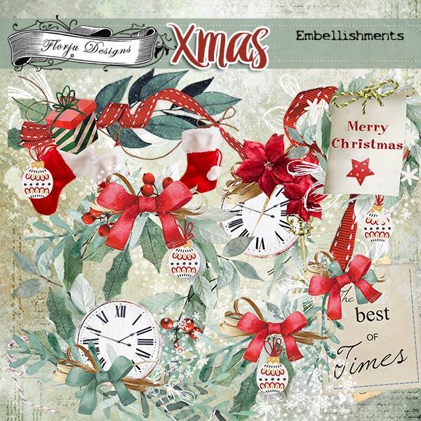 Xmas Embellishments PU by Florju Designs