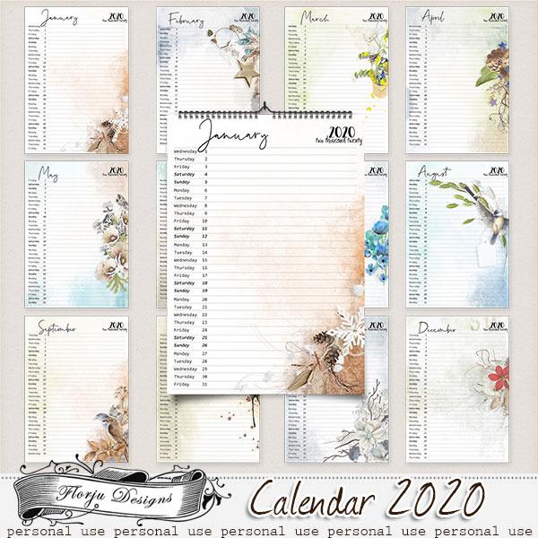Calendar 2020 { Vertical Version A4 } by Florju Designs