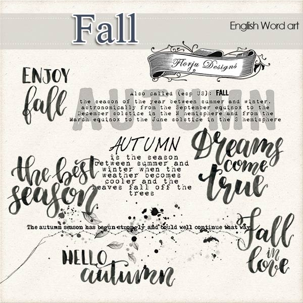Fall [ English Word Art PU ] by Florju Designs
