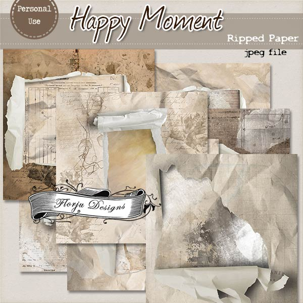 Happy { Ripped papers Pu} by Florju Designs