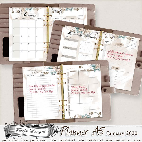 Planner A5 { January PU } by Florju Designs