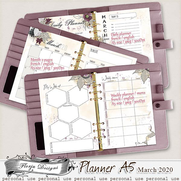 Planner A5 { March PU } by Florju Designs