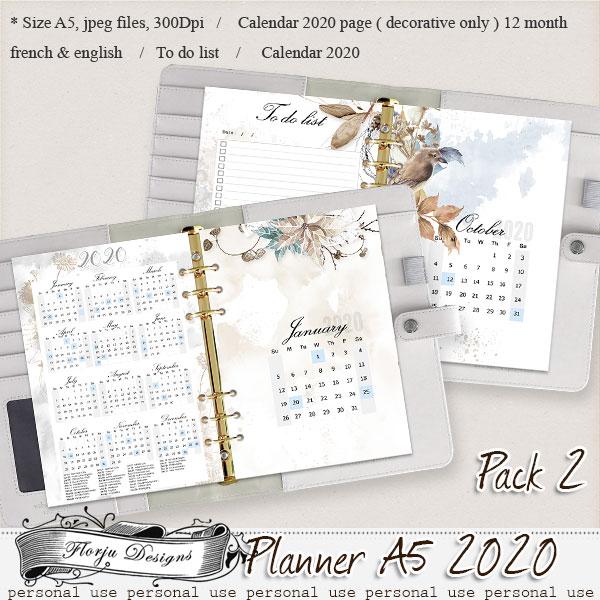 Planner A5 { Calendar 2020 Pack 2 PU } by Florju Designs