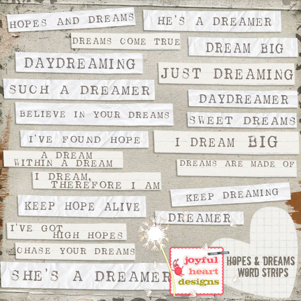 Hopes and Dreams (word strips)